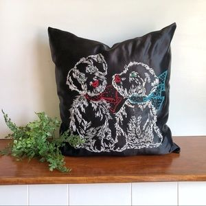 Black Satin Embroidered Dogs Puppies Pillow